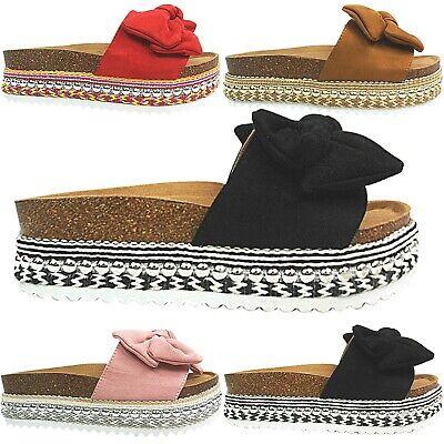 Womens Ladies Mid Wedge Flatform Espadrilles Mules Sandals Shoe Size Bow Slipper