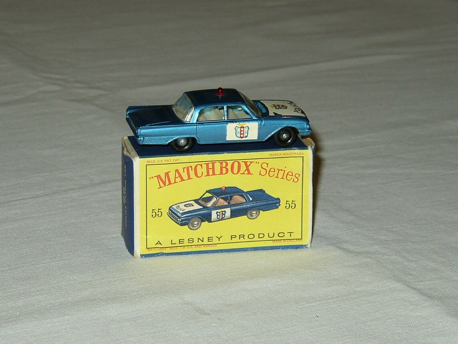 VINTAGE LESNEY MATCHBOX   55 FORD FAIRLANE POLICE CAR - NM Original Box D - BPW