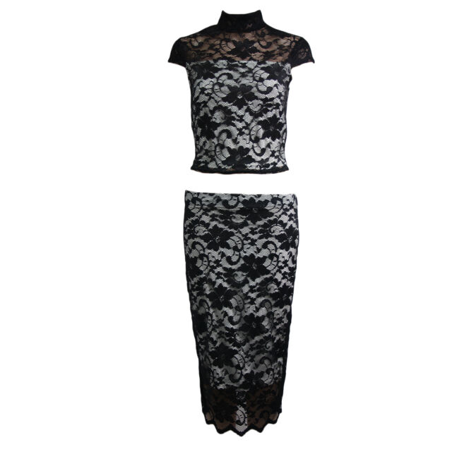 f561ab35fd15a Womens Floral Crochet Suit Midi Skirt Crop Polo Top Two Piece Ladies ...