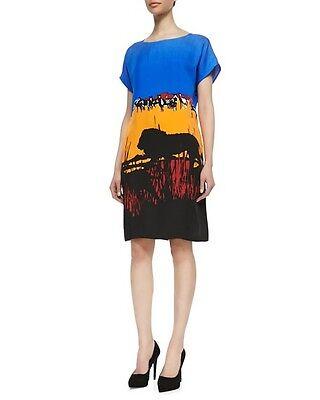 Diane Von Furstenberg Beautiful Rare Lion Safari Harriet Silk Dress S