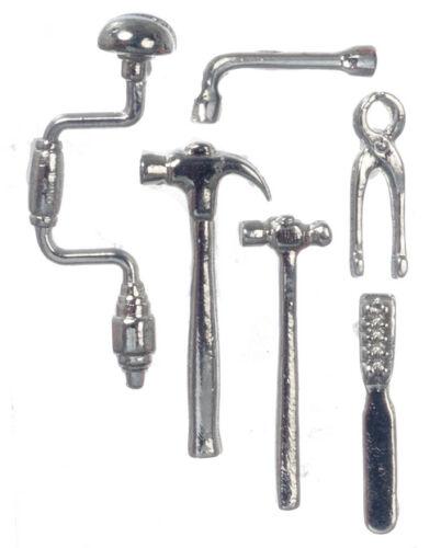 maison de poupées miniature Ensemble d/'outils Pièce Six marteau perceuse x2 pinces clé fichier