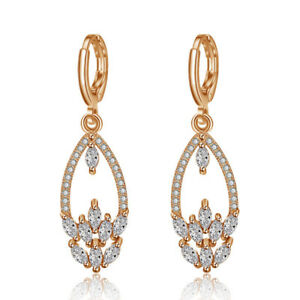 European-Style-Natural-Shiny-White-Fire-Topaz-Yellow-Gold-Plated-Dangle-Earrings
