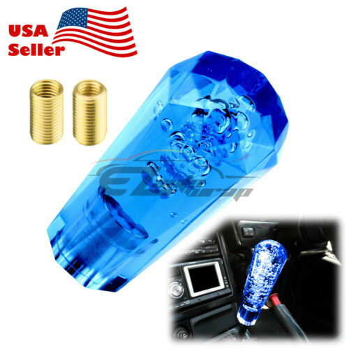 Shift Knob Stick Blue Crystal Transparent Bubble Manual Gear Shifter 10cm Long