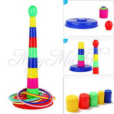 Ring Toss Quoits Set Children Kids Outdoor Garden Game Toy Play Plastic Colorful