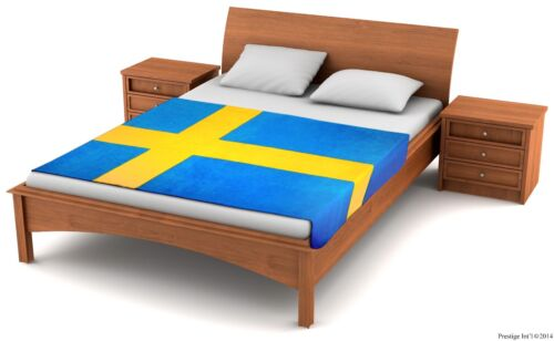 """Fuzzy Flags Fleece Sweden Flag Blanket 80x50/"""" L@@K NEW WITH FACTORY DEFECTS L@@K"""