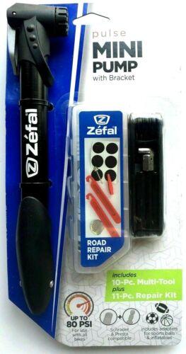 Zefal Pulse Mini Bike Pump 11 pc Repair Kit Trail Bicycle Road Multi-Tool