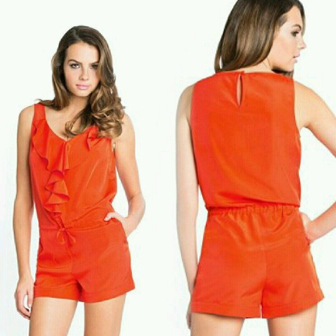 de199548f8 NWT GUESS Marciano Polyester orange Lindsay Romper dress top size 6 by 100%  nstjpq1144-Jumpsuits   Rompers