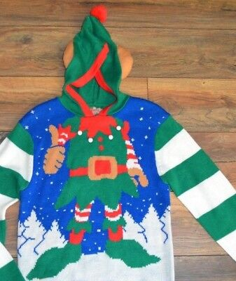 Ugly Christmas Sweater with Pom Pom Hood Men/'s Party Sweater Holiday Sweaters