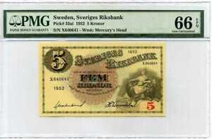 SWEDEN-5-KRONER-1952-P-33-GEM-UNC-PMG-66-EPQ