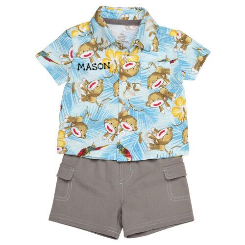 Sock Monkey 2PC Button Down Shirt /& Short Set PERSONALIZED FREE