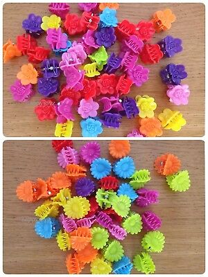 40 Hair clips plastic claw Girl hair grip Bulk mix colour party Loot bag fillers