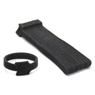 10x Black Wire Cable Cords Straps Wraps Ties Reusable Hook Loop
