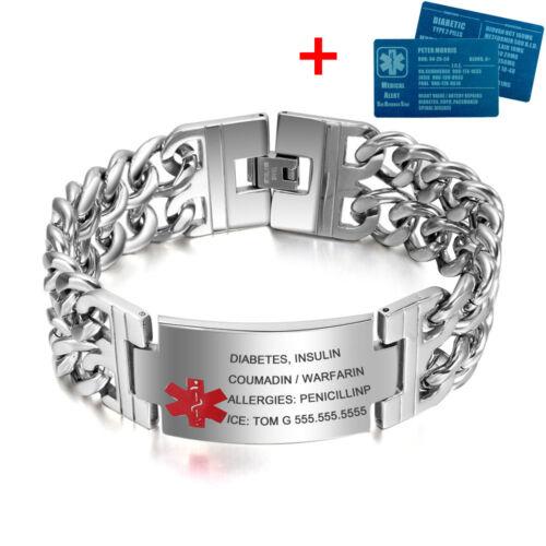 "Custom 8.5/"" Gravure Médical D/'Urgence Alerte ID Bracelet médical aluminium carte"