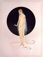 "CLASSIC ERTE' ART DECO BOOK PRINT ""DEVOTION"" WOMAN IN VERY SHEER GOWN HEELS"
