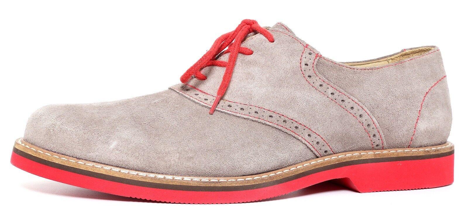 1901 Lace Up Suede Oxfords Grey Red Men Sz 8.5 M 3423