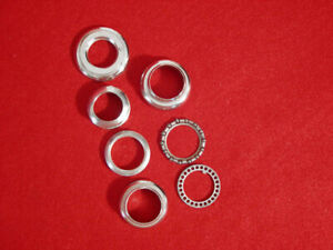 Vintage-Peugeot-Headset-1-Inch-Bearings-Races-Chrome-Steel-Notched-Used