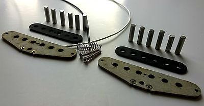 Strat GREY BOTTOM single coil pickup kit fibre flatwork alnico 5/2 stagger/flat