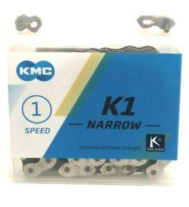 "Single Speed 3//32/"" Silver//Black KMC K1 Kool Narrow Chain 110 Links"