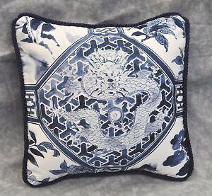 Pillow-made-w-Ralph-Lauren-Palm-Harbor-Octagonal-Blue-amp-White-Fabric-9-034-square