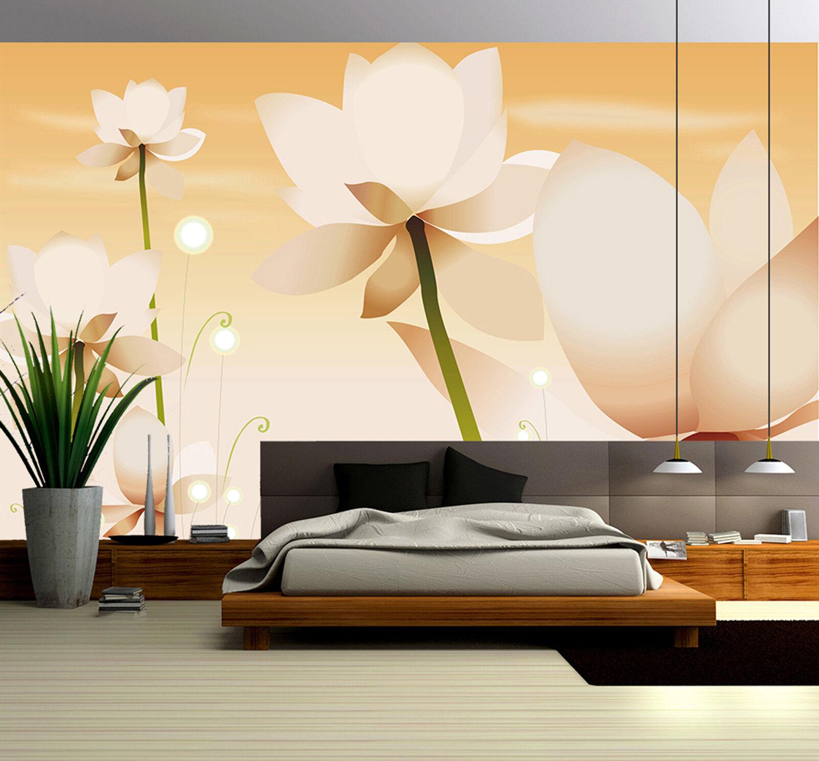 3D Weißer Lotus Fototapeten Wandbild Fototapete Bild Tapete Familie Kinder