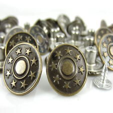 "173 10 sets Bronze Tone Star Pattern Jean Tack Buttons 17x8mm 5//8/""x3//8/"" -"