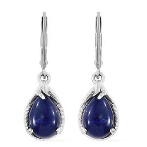 Women's 925 Sterling Silver Lapis Laziuli Blue Dangle Drop Earrings Jewelry Gift
