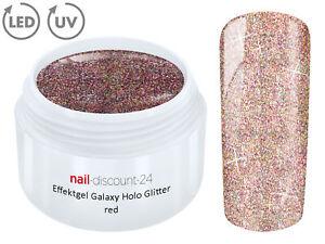 UV-LED-Effekt-Gel-Galaxy-Holo-Glitter-RED-Farb-Color-Nagel-Glitzer-Nail-Art-Rot