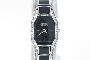Ladies citizen ew9780 57e eco drive normandie stainless black resin watch ebay for Black resin ladies watch