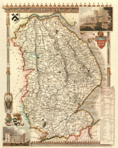 19th Century Reproduction Map of Lincolnshire Map of Linconlshire Thomas Moule