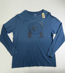 Shirt-100-Cotton-XL-Cremieux-Mens-Blue-Casual-Long-Sleeve-Thermal-Style