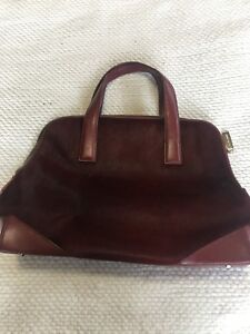 Details About Cole Haan Womens Satchel Maroon Hide Hair Zip Up Handbag Doctor Bag Lined Purse