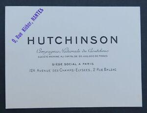 Carte De Visite HUTCHINSON Pneu Michelin Tyre Caoutchouc Nantes Old Visit Card