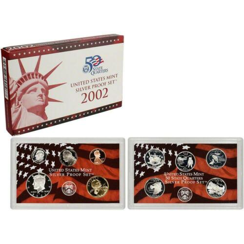 2002 ORIGINAL US MINT SILVER PROOF SET BOX /& CARD GREAT BIRTH YEAR GIFTS!