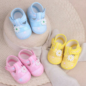 4e048e557b Details about Cute Baby Girls Newborn Floral Bow Toddler Infant Soft Sole  Anti-slip Pram Shoes