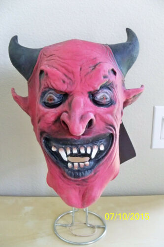 ADULT CLASSIC DEVIL DEMON MASK WITH HORNS MARDI GRAS PARTY COSTUME DU312