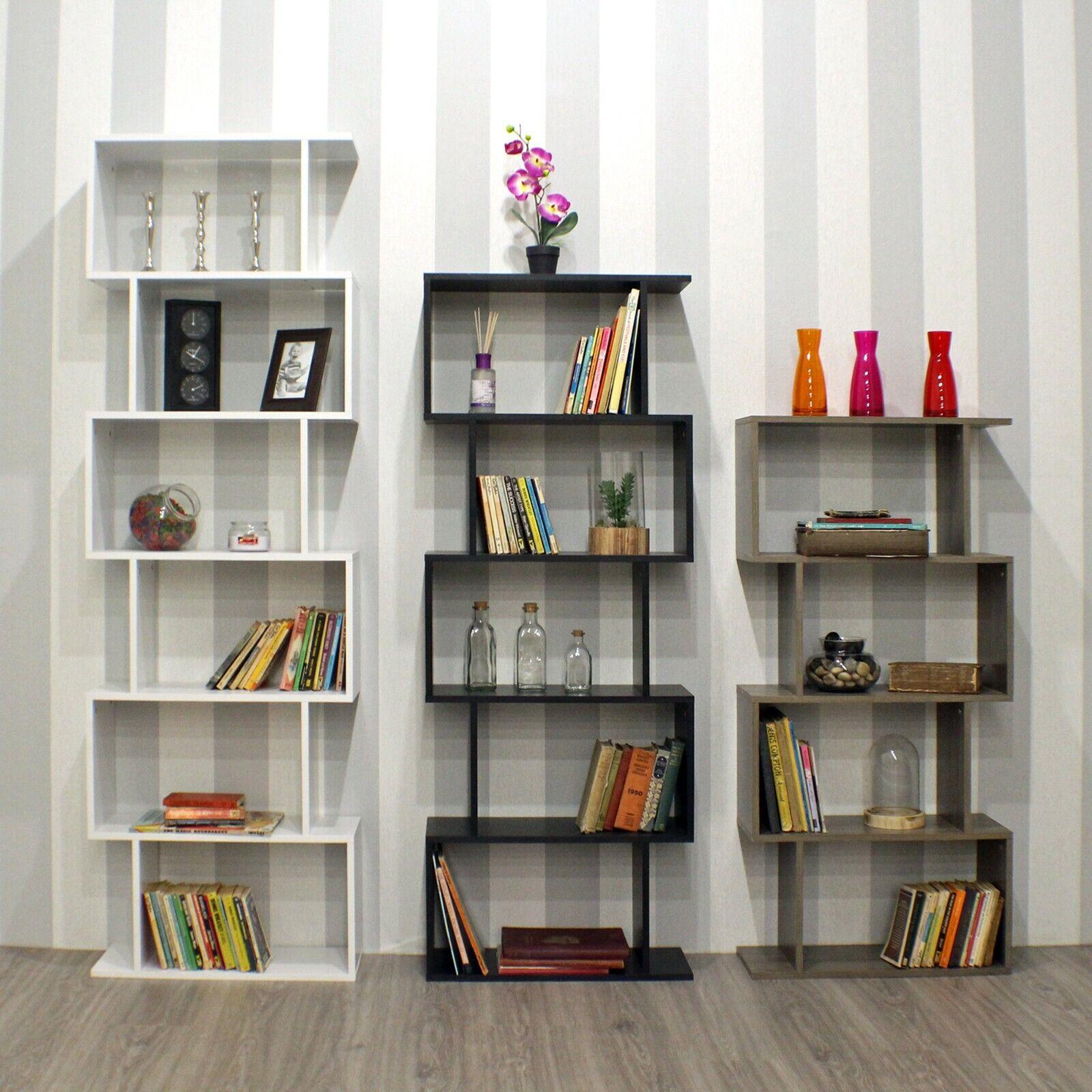 Wooden S Shaped Bookcase Living Room, Modern Living Room Shelves
