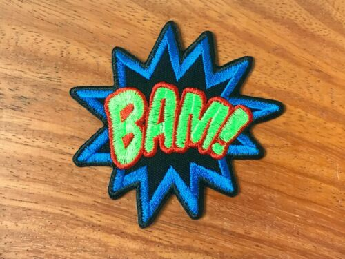 Bam Pow Kaboom Wow Boom Sound Effect Embroidered Sew on Iron on Patch