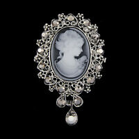 Vintage Cameo VICTORIAN STYLE crystal Wedding party women pendant brooch pin