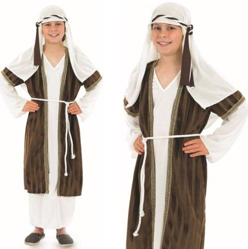 Kids Boys Brown Shepherd Xmas Christmas Nativity Fancy Dress Costume Outfit 4-12