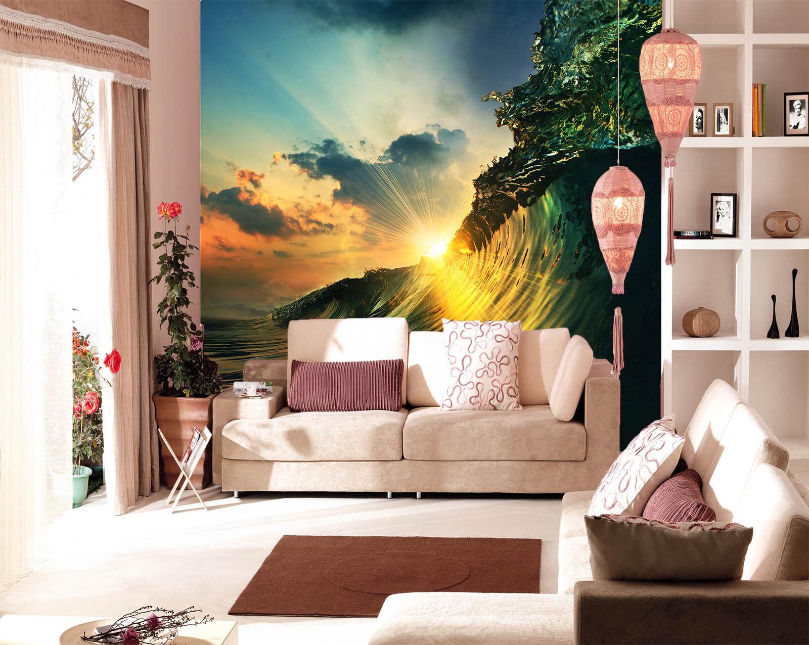 3D Wellen Sonnenschein 753 Tapete Wandgemälde Tapete Tapeten Bild Familie DE