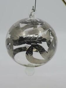 Details about Egyptian Mouth Blown Clear Glass Ball Ornament Etched w/  Silver Accents 4 5