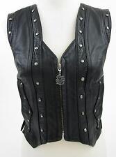 Harley Davidson Womens Springer Border Vest Leather Sz Small Conchos Fringe!