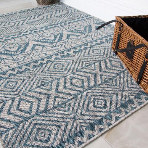 Tribal Tuscan Vintage Moroccan Blue Turquoise Flatweave Indoor Outdoor Large Rug