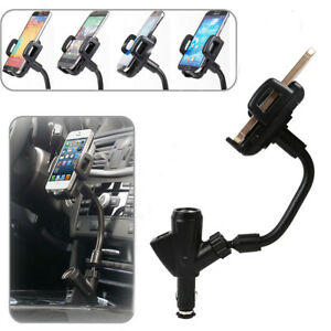 Details about Dual USB Car Charger Cigarette Lighter Mount Holder For Cell Phone iPhone Galaxy