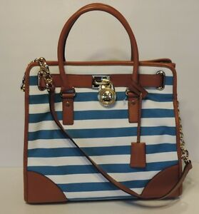 4aa18618e7a2 New michael kors hamilton canvas striped large north south tote bag ...