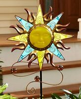 Glow In The Dark Sun Face Yard Stake Lawn Garden Metal & Glass Yard Art