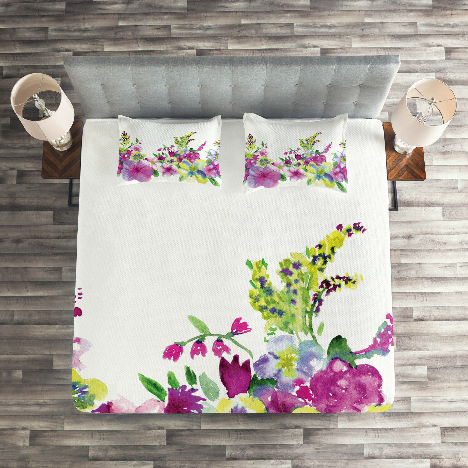 Floral Quilted Coverlet & Pillow Shams Set, Watercolor Garden Print