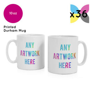 36x WHOLESALE BULK BUY PERSONALISED PROMOTIONAL MUGS. YOUR LOGO / DESIGN PRINTED