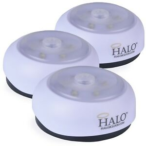 Halo Set Of 3 6 Led Wireless Motion Sensing Puck Lights