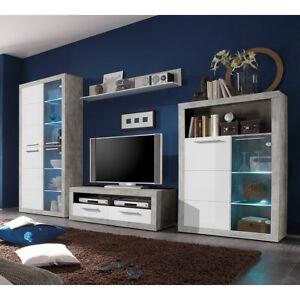 wohnwand stone anbauwand wohnkombi in betonoptik und wei glanz inkl led ebay. Black Bedroom Furniture Sets. Home Design Ideas